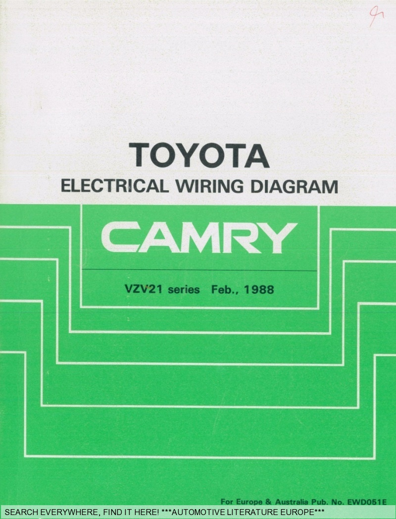 1988 Toyota Camry Electrical Wiring Diagram All Kind Of 1989 Fuse Elektrik Schaltpl U00c4ne Ewd051e Ebay Engine 2000